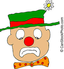 mournful clown - vector - Illustration of the sad clown -...