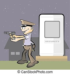 Guard armed with gun in hand at night - Guard armed with gun...