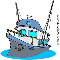 Fishing Trawler - This illustration depicts a blue colored...