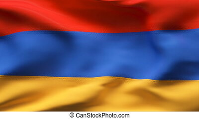 ARMENIA flag in slow motion - Creased cotton flag with...
