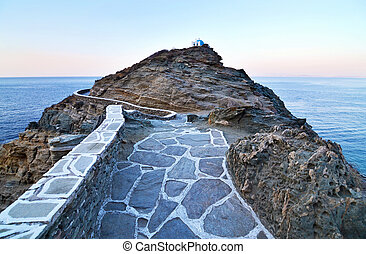 narrow path that leads at the church of Seven Martyrs Sifnos...