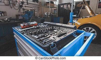 A kit of tools for repairing - screwdriver, voltmeter,...