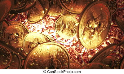 One Dollar coins flight on liquid gold background - Coins...