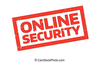 Online Security rubber stamp. Grunge design with dust...