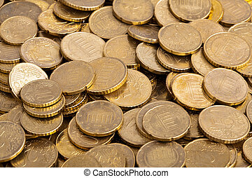 European Currency - stack of 50 cent european coins, studio...