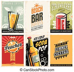 Collection of retro posters with organic juices and popular...