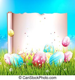 Easter background with colorful eggs and empty paper for...