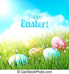 Easter greeting card - Sweet Easter greeting card with...