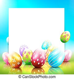 Easter background - Sweet Easter greeting card with colorful...