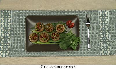 Stuffed vegetables served on a tray. - Stuffed vegetables...