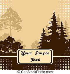 Landscape, Trees Silhouettes - Forest Landscape, Fir Trees,...