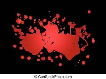 Blood splash vector illustration. Red