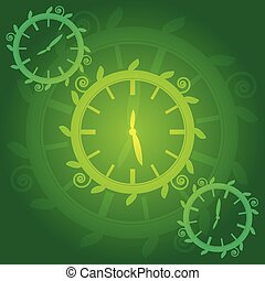 Green clock on green background. Vector illustration.