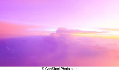 Sunny sky pink sunset background, beautiful cloudscape, view...
