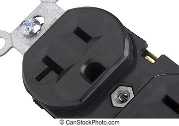 Outlet - Black electrical outlet on a white background
