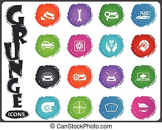 Car shop icons set in grunge style - Car shop icon set for...