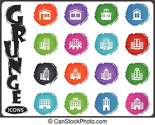 Buildings icons set in grunge style
