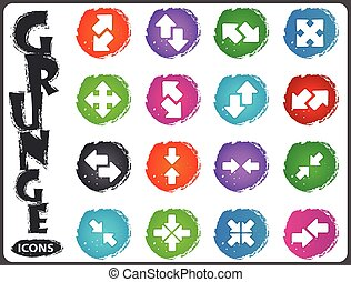 Arrows icons set in grunge style - Arrows icon set for web...