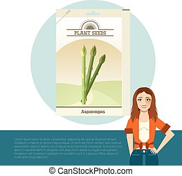 Pack of asparagus seeds icon - Vector image of the Pack of...