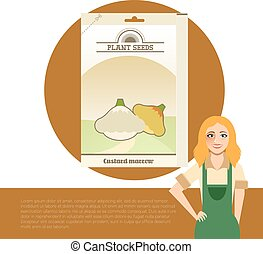 Pack of Custard marrow seeds - Vector image of the Pack of...