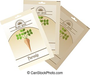 Pack of Parsnip seeds icon - Vector image of the Pack of...