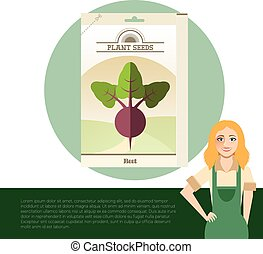 Pack of Beet seeds icons - Vector image of the Pack of Beet...