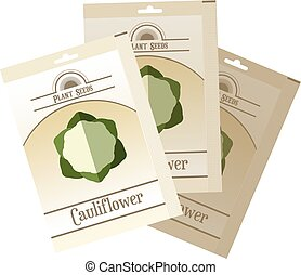 Pack of Cauliflower seeds icon - Vector image of the Pack of...