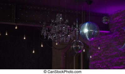 Disco ball and light on a party