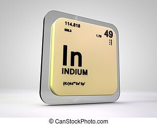 Indium - In - chemical element periodic table 3d render