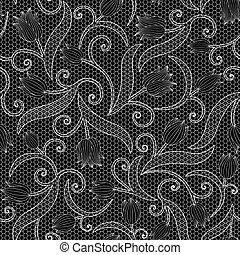 White lace seamless pattern with tulips on black background