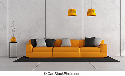 Concrete room with modern sofa