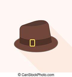 Brown wool fedora hat vector, flat design vector