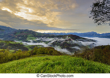 Asturias mountains landscape - View from the top of a...