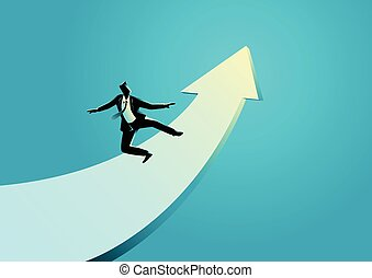 Businessman surfing on the rising arrow