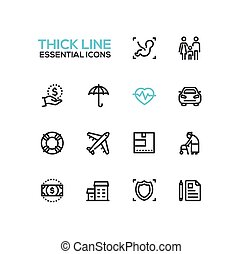 Insurance - modern vector single thick line icons set