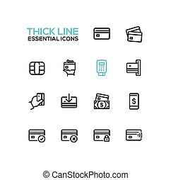 Finance - modern vector single thick line icons set. Credit...