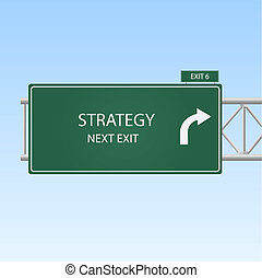 "Image of a highway sign with an exit to ""STRATEGY"" with a sky background."