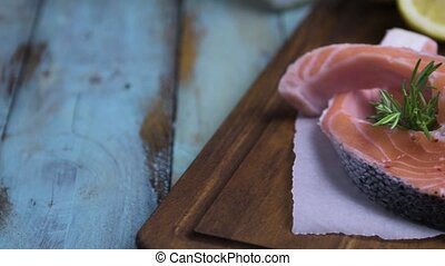 Raw salmon steak - Fresh fish. Salmon. Raw salmon steak with...