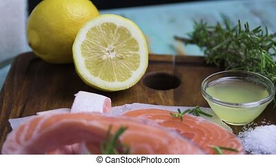 Raw salmon steak