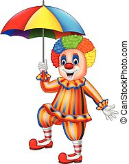 Cartoon funny clown holding an umbrella - Vector...