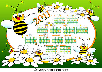 2011 Kid calendar with beeS - 2011 Kid calendar with bees...