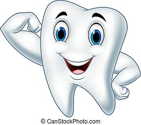 Cartoon strong tooth character - Vector illustration of...