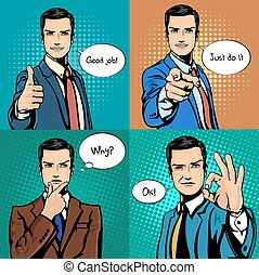 Businessman with different hand gestures - Comic cartoon...