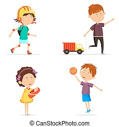 Boy with basketball ball and girl with baby doll - Set of...
