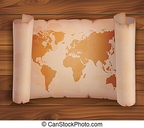 Horizontal scroll paper, parchment with world map