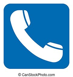 blue, white info sign - old telephone handset icon