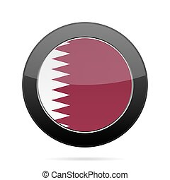 Flag of Qatar. Shiny black round button. - National flag of...