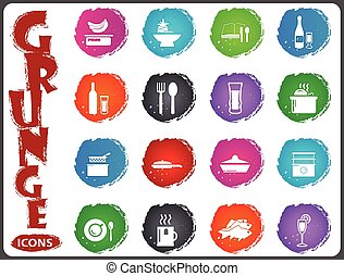 Food and kitchen icons set in grunge style - Food and...