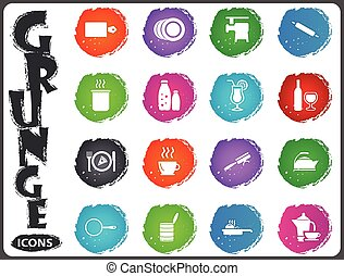 Food and kitchen icons set in grunge style