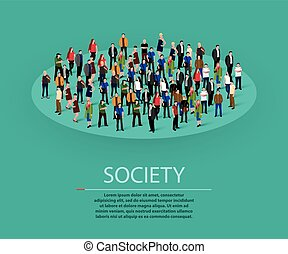 Big people crowd in circle. Society concept.